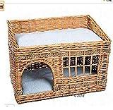 GYYL Tejer la Cabina Interior del Gato en el Segundo Piso. El Gato de Esta Familia está Equipado con Dos Cojines y es la Cama Dormir y Descansar,Large