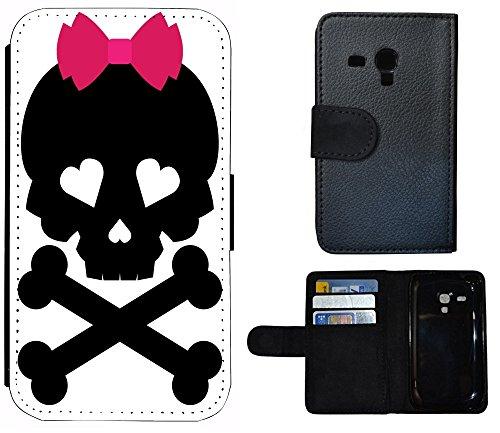 Flip Cover Schutz Hülle Handy Tasche Etui Case für (Apple iPhone 5 / 5s, 1251 Baby Katze Kätzchen Grau Weiß) 1252 Totenkopf Schwarz Pink