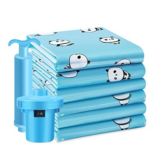QFFL Sac de compression sous vide Sac de compression de vide d'impression bleue créative / sac de stockage antipoussière de couverture de couette extra-large / sacs de finition de bagages d'habillement 100 * 80 cm (un paquet de 8) Sac de protection