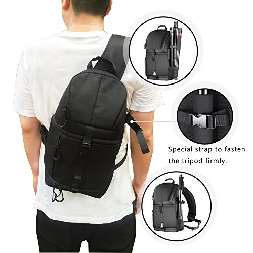 a63fec137c7 Followsun Pro Camera Sling Bag Backpack Waterproof Shockproof Travel Bag  with Rain Cover for Nikon Canon Sony DSLR SLR and Lens, Flash, Tripod, ...