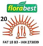 Florabest 20 plaquettes de coupe / couteaux plastiques Florabest LIDL Coupe-bordures sans fil FAT 18 B3 - LIDL IAN 273039 - FAT 18B3 / FAT18B3