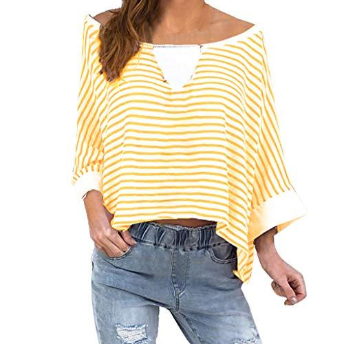 Yvelands Damen T-Shirt der Mode-Frauen Plus Größen-Streifen-Hülse mit DREI Vierteln Weg vom Schulter-Pullover übersteigt Hemd(Gelb,XL) (Widerstand Langhantel)