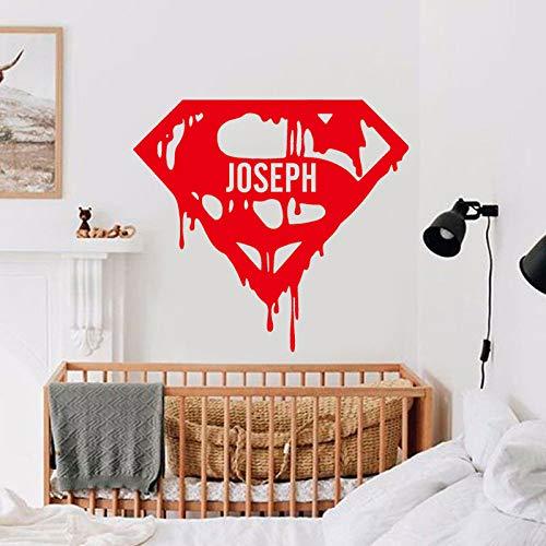 LUANQI Superheld City Hero Zeichen Wandaufkleber Vinyl Wohnkultur Für Kinderzimmer Persönliche Jungen Name Kindergarten Aufkleber Removable Murals 1 62x57 cm (Beläge Für Frauen)