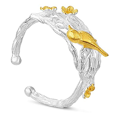 Sweetiee 925 Sterling Silver Cuff Ring with 24K Gold Bird
