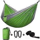 VGROUND Amaca da Campeggio da Giardino, capacità di Carico 300kg (270 x140 cm), Nylon da Paracadute ad Asciugatura Rapida con Moschettoni Corde in Nylon per Camping, Viaggi, Escursione (Verde)