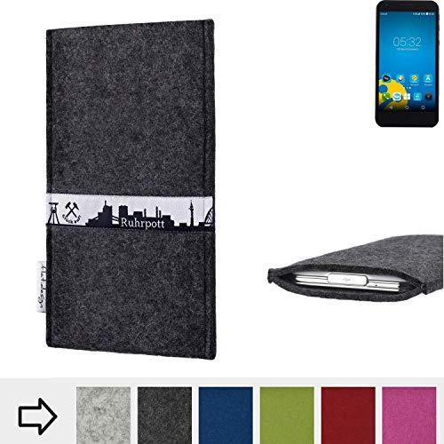 flat.design für Vestel 5000 Dual-SIM Schutzhülle Handy Tasche Skyline mit Webband Ruhrpott - Maßanfertigung der Schutztasche Handy Hülle aus 100% Wollfilz (anthrazit) für Vestel 5000 Dual-SIM