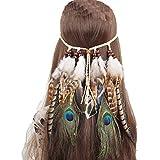 FORLADY Indio bohemio viento étnico hippie borla cuerda del pelo del pavo real pluma tocado femenino banda de pelo costero Bair accesorios