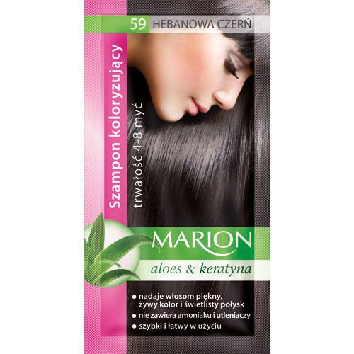 Marion Hair Color Shampoo in Sachet Lasting 4-8 Washes - 59- Ebony Black