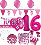 Kids Party World XXL 39 Teile Sweet Sixteen zum 16. Geburtstag Perfectly Pink für 18 Personen - Folienballon