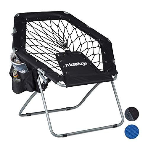 Relaxdays Bungee Stuhl WEBSTER, elastisch, Faltbar, bis 100 kg, Seitentasche, Outdoor Gartenstuhl, Klappstuhl, Schwarz -