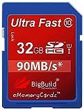 eMemoryCards 32GB Ultra-schnell 90MB/s SD SDHC Speicherkarte für Aiptek PocketDV AHD 200 Camcorder