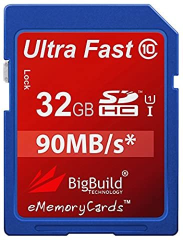 eMemoryCards 32GB Ultra Fast 90MB/s SD SDHC Memory Card for Canon EOS 1000D DSLR Camera