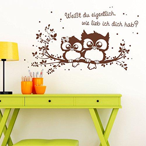 """Wandtattoo Loft® Eulenwandtattoo """"Weißt du eigentlich, wie lieb ich dich hab?"""" mit niedlichen Eulen auf einem Zweig – Wandtattoo / 49 Farben / 4 Größen / azurblau / 55 x 92 cm"""