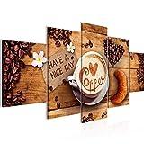 Bilder Küche Kaffee Wandbild 150 x 75 cm Vlies - Leinwand Bild XXL Format Wandbilder Wohnzimmer Wohnung Deko Kunstdrucke Braun 5 Teilig - MADE IN GERMANY - Fertig zum Aufhängen 501253a