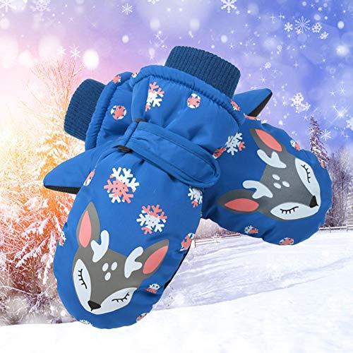 Eventualx - Guantes de esquí para niños, Resistentes al Viento, Impermeables, duraderos, Guantes de Nieve de Tres Capas, cálidos, fáciles de Llevar, Guantes de Invierno para niños y niñas Azul Oscuro