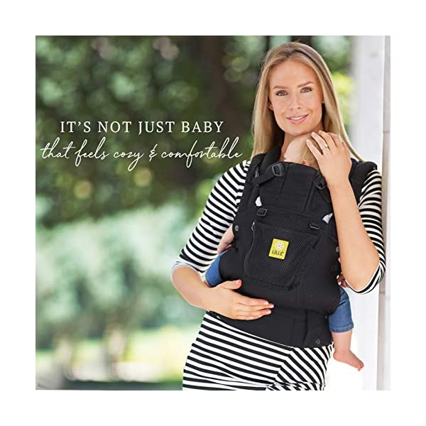 LÍLLÉbaby  Complete Airflow 6-in-1 Baby Carrier, Black Lillebaby Made from breathable mesh fabric to help keep parent and child cool and comfortable and with 6 carrying positions - Foetal, infant inward, outward, toddler inward, hip, back - The only carrier you'll ever need! Suitable from 3.2- 20kg (birth to approx. 4 years old), providing extended comfortable use for parent and child with no additional infant support required for new-borns - the ergonomic adjustable seat is acknowledged as 'hip-healthy' by the International Hip Dysplasia Institute Unique spacious head support with elasticated straps - soothes infants with gentle lulling motion and provides excellent support as children grow 4