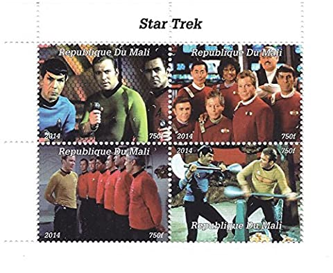 2014 Star Trek Original series stamps for collectors with 4 stamps - Features fight scenes and crew shots / Mali / never
