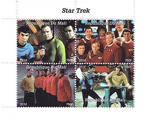 2014 Star Trek Serie Original Briefmarken für Sammler mit 4 Briefmarken - Funktionen kämpfen sc enen und Crew Schüsse/Mali/Unmounted