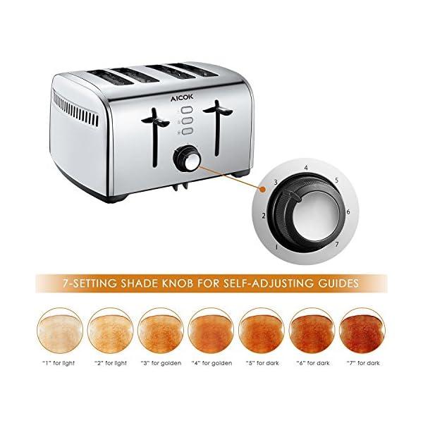 AICOOK Tostapane 4 Fette, 1700W Tostapane Senza BPA con Profond & Larghi (4.2CM)Slot Extra-Grandi, 7 Livelli di Tostatura, Funzione Defrost / Bagel / Cancel, Vassoio Raccoglibriciole Smontabile