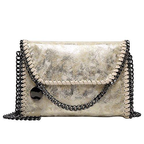 HAINES Dame Tasche mit Kette Clutch Bag Kleine Umhängetasche PU-Leder Kette Schultertasche,Schwarz-Schwarz Kette Gold