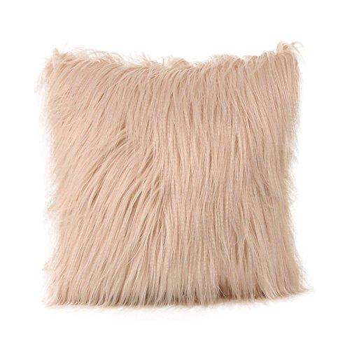 Kinlene Funda de cojín Furry de Felpa Funda de Almohada Throw Home...