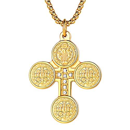 FaithHeart Fashion Kreuz Symbol Damen Halskette 925 Sterling 18 Krara Zirkonia Anhänger Kettenanhänger, Silber-aus Edelstahl St. Benedict Gelb Herren Halskette