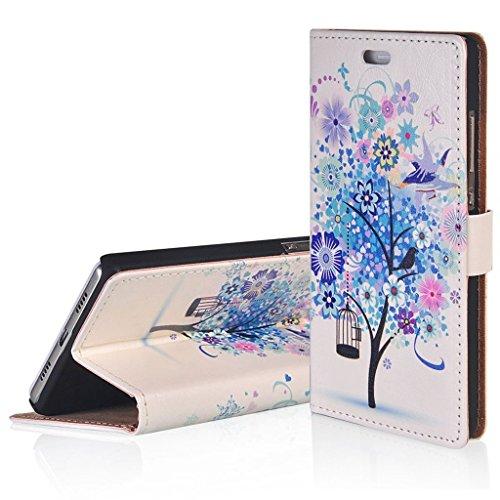 WindCase Klappetui Brieftasche PU Leder Schutzhülle für Vodafone Smart E8 Blau Baum Muster Hülle PU Ledertasche Case mit Standfunktion Kartenfächer