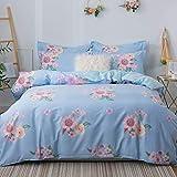 FGKLU 100 Prozent Baumwolle Blumenmuster Bettbezug Set, Zeitgenössischer Stil, Ultra Weich und Pflegeleicht, 4 Stück (1 Bettbezüge, 1 Spannbettlaken, 2 Kissenbezug),001,King