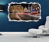 3D Wandtattoo Skyline München alt Rathaus Marienplatz Tapete Wand Aufkleber Wanddurchbruch sticker selbstklebend Wandbild Wandsticker Wohnzimmer 11P1288, Wandbild Größe F:ca. 140cmx82cm