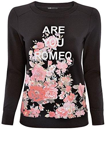 oodji Ultra Femme Sweat à Imprimé Floral et Message Noir (2947P)