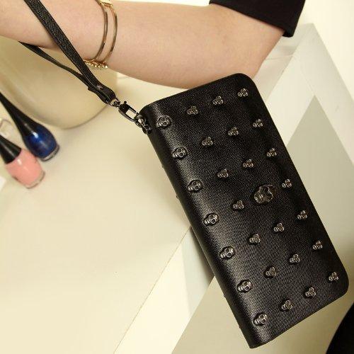 Primi mujeres largo calavera bolso de mano de piel sintética con cremallera bolso de mano