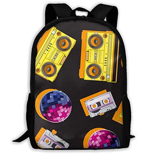 Schulrucksack Musik-Tonbandgerät-Disco-Kugel Rucksack wasserdichte Schultaschen Durable Travel Camping Rucksäcke für Jungen und Mädchen