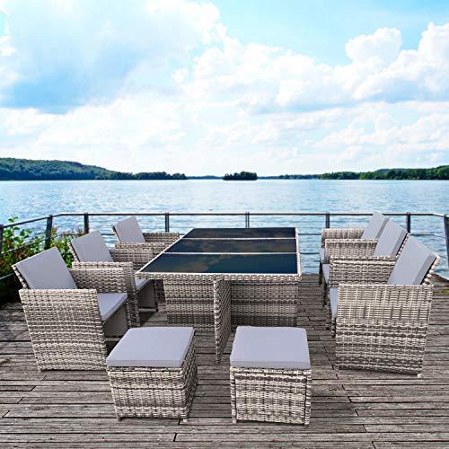 RedNeck Gartenmöbel Set 6er Sitzgruppe Dining Lounge Beige/Grau Polyrattan Alu mit Schwarzglasplatte -