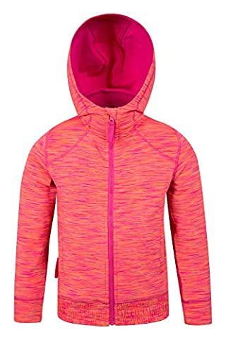 Mountain Warehouse Kayleigh Girls Stripe Hoodie - Fully Lined Hood for Better Warmth with 2 Front Pockets for Easy Storage & Easy Care - Suitable for Everyday Wear Coral 11-12