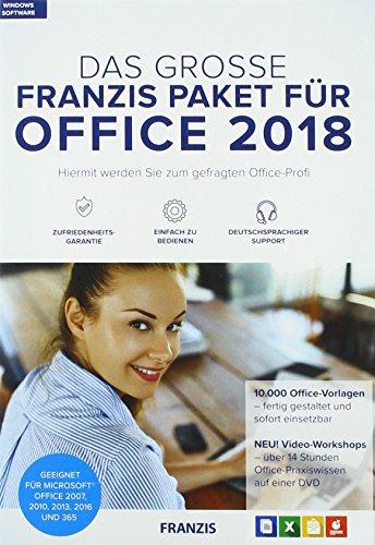 FRANZIS Das große FRANZIS Paket für Office 2018|Office-Vorlagen|keine Einschränkung|zeitlich unbegrenzt|Windows 10/8.18/7 Microsoft® Word/Excel®/PowerPoint®/Outlook® 2007/2010/2013/365|Disc|Disc