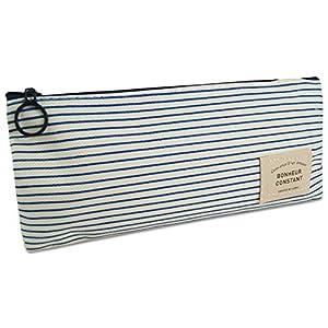 Katara 1800 Estuche de Lápices Escuela / Oficina Papelería - Bolso Escolar con Patrón de Rayas Azules y Blancas