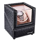 TRIPLE TREE Uhrenbeweger für eine Uhr, Winder passend für die meisten Automatikuhren, mit flexiblen Plüsch Kissen, in Holz Box mit schwarzem Leder