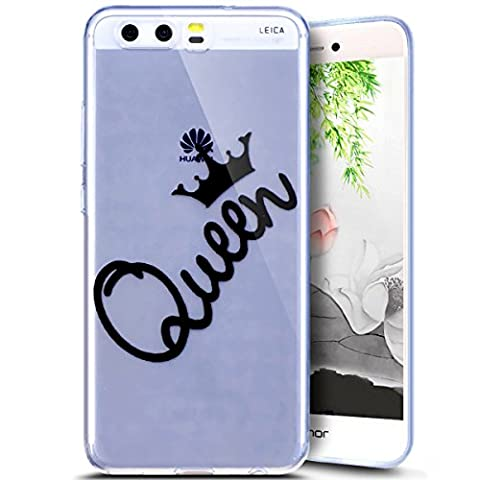 Huawei P10 Plus Case, Huawei P10 Plus Transparent Case, Ukayfe Huawei P10 Plus Crystal Clear Ultra Slim Scratch Flexible Soft TPU Gel Fashion Painted Queen Crown Creative Design Bumper Back Silicone Cover Case for Huawei P10 Plus, Queen Crown