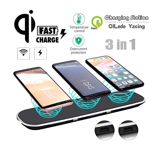 3 in1 Charger Stand/Qi Fast-Multi drahtlose Aufladen Docking Station / 2 USB-Lade- / Ladestation Ultra Slim für iPhone Samsung Galaxy alle QI-Enabled,Black Samsung Multi-system
