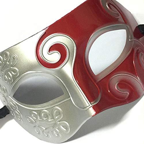 HarveyRudol85 Hmasquerade Jazz Prince Half Face Flat Head Hartplastik-Partei MaskRed Geschnitzte