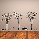 (180x 100cm) Vinyl Wand Aufkleber Wald Bäume, Fox, Flock of Birds & Kaninchen Silhouette/Nature Art Decor Aufkleber/DIY Wandbild + Gratis zufällige Aufkleber Geschenk macht.
