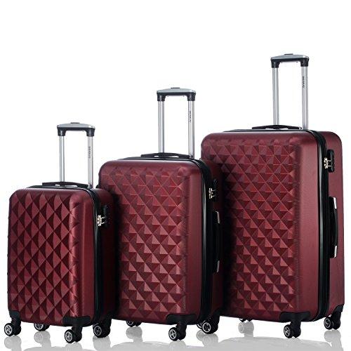 BEIBYE Kofferset 4 Zwillingsrollen Hartschale Trolley Koffer Reisekoffer Reisekofferset Gepäckset in 12 Farben (Weinrot)
