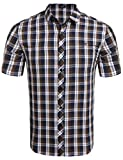 COOFANDY Karohemd Herren Kurzarm Freizeithemd kariert aus Baumwolle Kentkragen slim fit casual Shirts(Kaffee,XXL)
