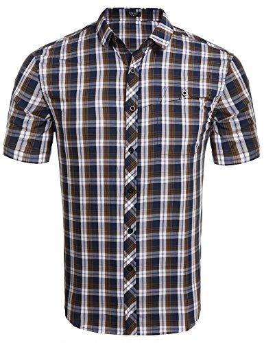 COOFANDY Karohemd Herren Kurzarm Freizeithemd kariert aus Baumwolle Kentkragen slim fit casual Shirts