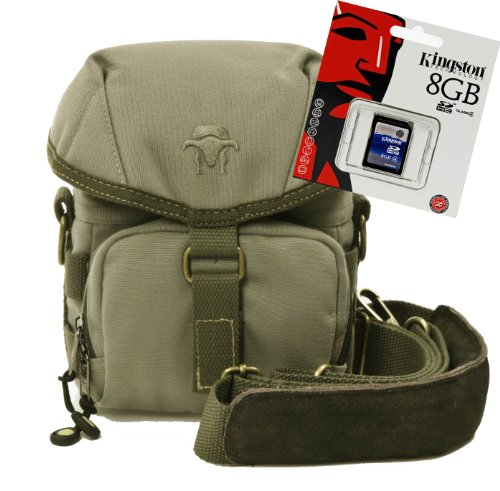 Progallio Spar-Set - professionelle Foto-Tasche Kameratasche Typ Southbull Camp S beige im Set mit 8 GB SD Speicherkarte