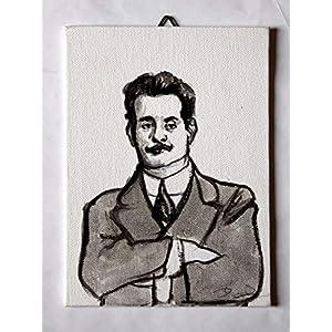 Giacomo Puccini – Studio von Giacomo Puccini, Acrylmalerei auf Leinwandpapier Maße cm13x18x0,3 cm Hergestellt in Italien, Toskana, Lucca Erstellt von Davide Pacini.
