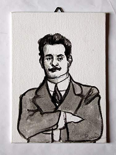 Giacomo Puccini - Studio von Giacomo Puccini, Acrylmalerei auf Leinwandpapier Maße cm13x18x0,3 cm Hergestellt in Italien, Toskana, Lucca Erstellt von Davide Pacini.