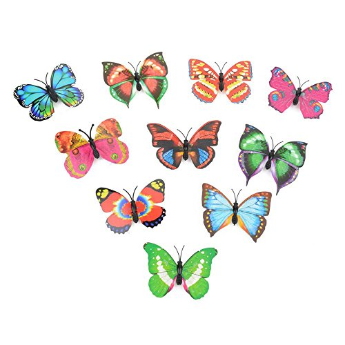 SOMESUN Dekoartikel 10 Pcs Fensterbilder Schmetterlings LED beleuchtet Wand-Aufkleber 3D Haus-Dekoration, Farbe zufällig (Tiffany Wand-abziehbilder)