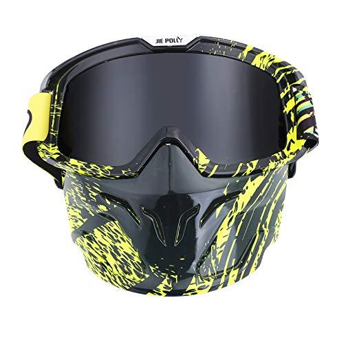 Epinki Adulto PC Moto Occhiali Protettivi Bicicletta Maschera Ciclismo Occhiali Protettivi Casco A Prova di Vento Sicurezza Occhiali Protettivi per Moto Bicicletta Casco Compatibile, Grigio A05