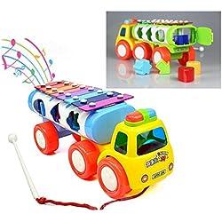 Itian 3 en 1 Xilófono de Juguete de Plástico Tractor Niños con Clasificador de Música Forma